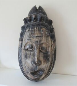 Vintage Carved Wooden Indonesian Face Mask Wall Hanging
