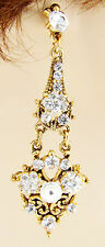ONYX 2.75 GOLD MULTI CRYSTAL ACRYLIC FLORAL DANGLE GOLD EARRINGS BUTTERFLY NEW