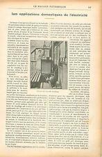Machine à Laver la Vaisselle Cuisine Gril Fer à repasser GRAVURE OLD PRINT 1906