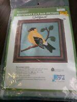 WonderArt Vintage Needlepoint kit Goldfinch 5x5 New