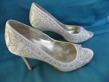 Dolcis Ivory Embroidered Diamantes Wedding Shoes -Size EU 37 - UK 4