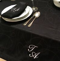 PERSONALIZED MONOGRAM LINES TABLECLOTH ANTI-STAIN RESISTANT - VARIOUS COLORS