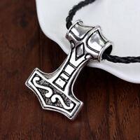 Wikinger Viking Thors Hammer Mjolnir Silber Anhänger Halskette Leder Geschenk