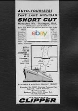 S.S.Milwaukee Clipper Lake Michigan Shortcut Milwaukee-Muskegon 1964 Ad