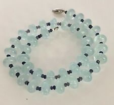Stunning Genuine aquamarine 14k white Gold Necklace 63.2g