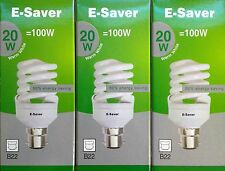 3x E-Saver, Energy Saving CFL Light Bulbs, Spiral, 20w, Warm White, B22 Bayonet