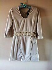 Beige Mini Dress, Size UK 8
