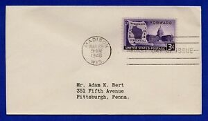 US 1948 FDC #957 Wisconsin Centennial 100th Uncacheted First Day Cover
