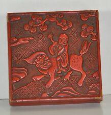Antike Chinalack-/Rotlack-Dose quadratisch Buddha/Löwe handgeschnitzt 19. Jh.