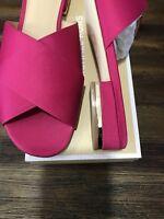 NIB Size 6.5 Michael Kors Shelly Ultra Pink Satin Flat Sandal Slide