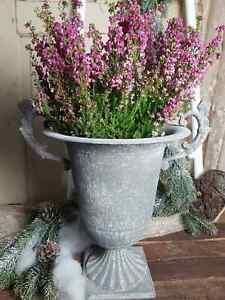 Pokal Amphore Pflanzschale Antik Grau Metall Sabby Vintage Landhaus Hoch Deko