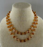 Vintage Art Deco LONG Hand Knotted Crystal Czech Amber Glass Bead Necklace