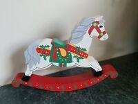 "Vintage Wood Hand Painted Christmas Rocking Horse Table Top 10.5"" x 7"" Sri Lanka"