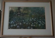 Signed Listed Artist Large Fine Pastel of Statue surrounded by Wildflowers