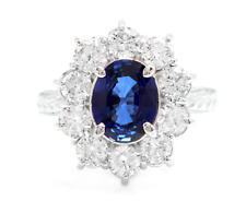 4.30Ct Natural Blue Sapphire & Diamond 14K Solid White Gold Ring