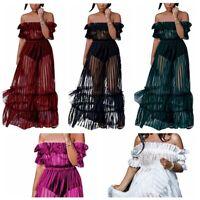 Womens Long Dresses Ladies Off Shoulder Mesh Striped Club Maxi Beach Party Dress