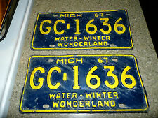 Vintage set of 1967 Michigan License Plates -GC-1636