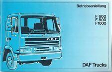LKW DAF F 600 F800 F 1000 Betriebsanleitung 1989 Bedienungsanleitung Handbuch BA
