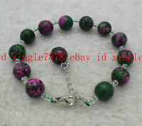 Natural 8mm 10mm Faceted Red Green Ruby Zoisite Round Gemstone Bracelet 7.5''AAA