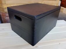 LARGE WOODEN BOX 40X30X23cm WHIT HANDLE IN BLACK COLOR
