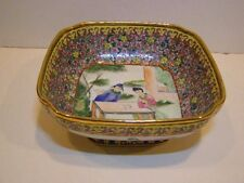 ANTIQUE CHINESE MANDARIN ROSE BOWL MID 19TH CENTURY MULTI COLORED PORCELAIN