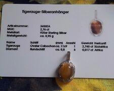 Tigerauge / Diamant  - Anhänger , 925er Sterlingsilber, Juwelo