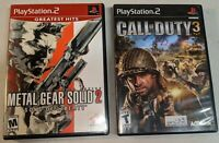2 PS2 Game Lot - Metal Gear Solid 2: Sons of Liberty + Call of Duty 3 w/ Manuals