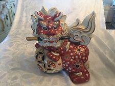 Asian Guardian Lion Shi Ceramic Figurine  Feng Shui Foo Dog