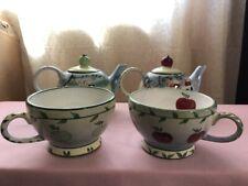 Vintage Mesa International Stackable Teapot Set w/ Mug - APPLES & Leaves