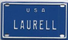 LAURELL USA BLUE Vintage Mini License Plate  - Name Tag - Bicycle Plate!