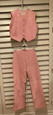 Vintage 60s Pink Leather Bell Bottom Pants & Matching Vest - Hippie