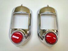 1951 1952 Chevrolet Belair Fullsize Tail Light Lamp Chrome Bezel Pair Reflector