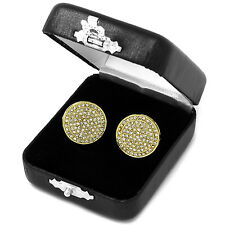 Men's Hip Hop Iced Out Cz Large Round Circle Flat Screen Screw Back Stud Earring