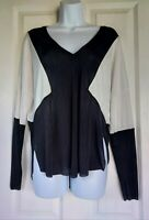 Womens Zara Blouse top size medium black white stretch smart work office vgc