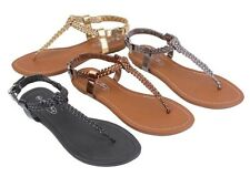 WOMENS GLADIATOR ROMAN T-STRAP FLAT THONG FASHION FLIP FLOPS SANDALS SHOES~6-11