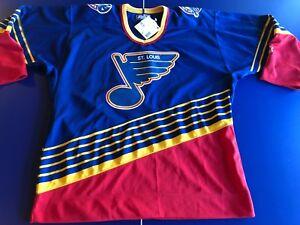 SAINT LOUIS BLUE LICENSED VINTAGE  AWAY BLUE #NHL #STARTER  #44-LARGE #MAKEOFFER
