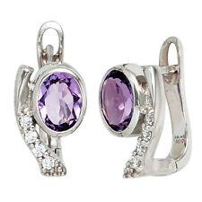 JOBO Creolen 925 Sterling Silber mit Zirkonia lila violett Ohrringe Silberohrrin