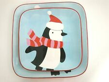 Target Holiday 07 Sleddin Hill Square Penguin Multicolor Dinner Plates Set of 2