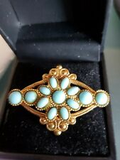 Antique Sterling Silver 925 Pin Brooch Turquoise Vintage