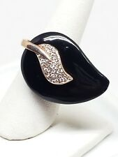 Black Lucite Ring Rhinestones by Philippe 925 Sterling SZ 5 3/4