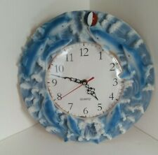 Dolphin Novelty Wall Clock Round Quartz Aa Battery Works