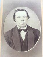 1800's Antique Cabinet Man GALVA ILLINOIS Handsome Young Man In Necktie