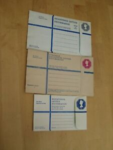 Three PrePaid Registered Letter Envelopes One of each: G, H and H2