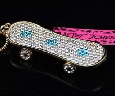 Betsey Johnson Necklace SKATEBOARD Gold Blue Skateboard With Crystals