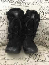 The North Face Woman's Boots SZ 36 Black Lace-Up Faux Fur Eskimo Floral Pattern