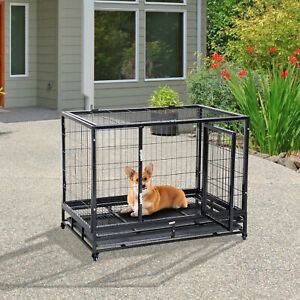 """PawHut 38"""" Heavy Duty Metal Dog Kennel Pet Cage Crate Tray and Wheels Medium"""