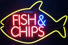 """Fish And Chips Seafood Neon Light Sign 16""""x12"""" Beer Lamp Decor Bar Real Glass"""
