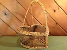 VINTAGE HEART SHAPED WOVEN BASKET WITH HANDLE AND WIRE SIDES