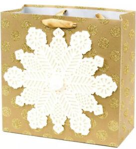 "Hallmark Signature Square Holiday Gift Bag Gold Snowflake 10.4"" x 10.4"" x 4.8"""