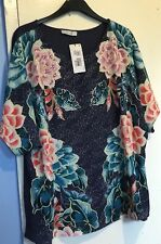 Marks And Spencer Per Una Women's Navy Mix Print Top/Blouse Size 20.